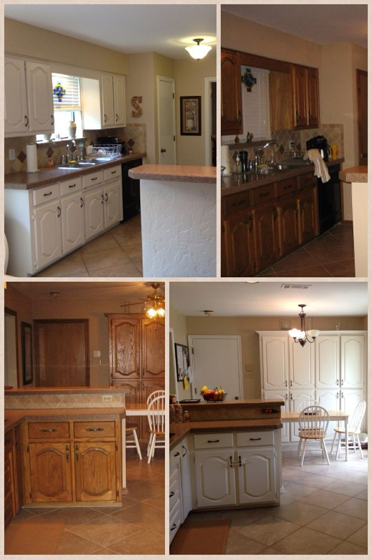 Before and after painting kitchen cabinets, trim and doors ...
