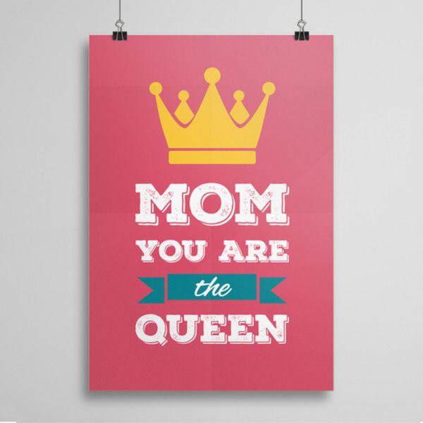 Mom You are the Queen - plakat w artiglo na DaWanda.com
