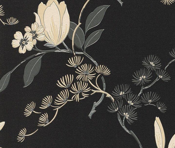 chinees japans bloesem bloemen oosters motief zwart behang 822526