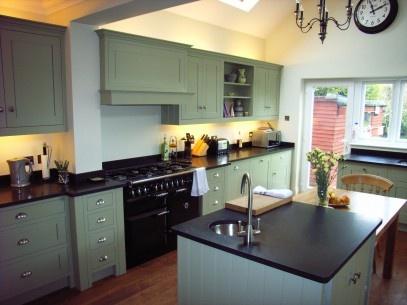 Beautiful hardwood kitchen finished in Farrow and Ball Chapel Green Paint. http://hendersonandredfearn.cordelia.titaninternet.co.uk/portfolio/158.jpg