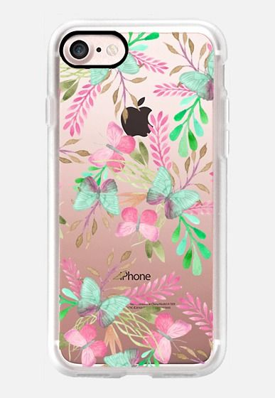 Pink teal watercolor cute hand painted floral butterfly iPhone 7 and iPhone 7 Plus Case by Pink Water | Casetify
