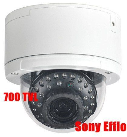 "Q1C1 Security Camera Sony Effio - 700 Color TV Lines High Resolution 1/3"" Sony Effio Day and Night vision Infrared Dome camera 2.8 ~ 12mm Vari-Focal Lens IP67 Outdoor WeatherProof and VandalProof for Home Security by Q1C1. $139.99. Features: 1/3"" Sony Super HAD II CCD Effective Pixels:  976 (H) x 508 (V) Easy Twist and Lock Installation ? 3-Axis : Angle it Anywhere  700(color) / 750 (B/W)TV Lines  ELC AGC AWB  35IR, 0 Lux  IR Distance: 90 Feet  2.8 ~ 12mm Vari-Focal Lens  ..."