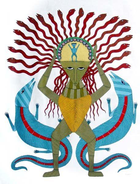 gond krishna painting - Google Search