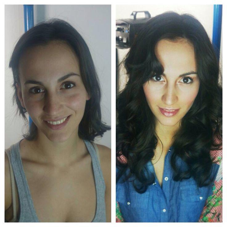 Peinado con ondas , maquillaje natural