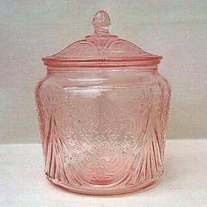 Depression Glass Cookie Jar - Pink Royal Lace