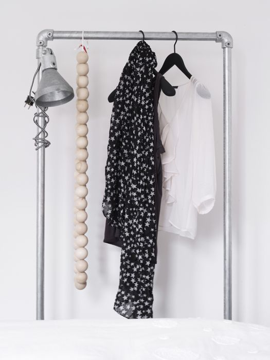 Via Anouk B Interior | Industrial Clothing Rack | Bedroom | String of Beads | Black White Iron Wood