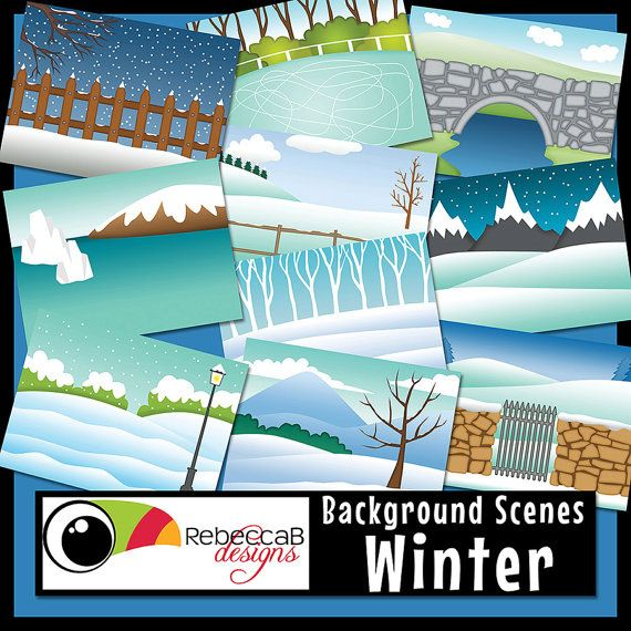 Landscape Clipart Winter Clip Art Background by RebeccaBDesignShop