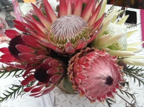 pink protea wedding centerpiece