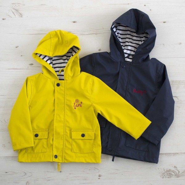 Personalised Name Raincoat Toddler Jacket Kids Coats Personalised Nursery