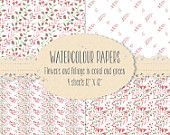 Watercolour paper in coral flowers and foliage - wedding resources; paper-based crafts - digital download
