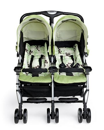 Combi Twin Sport:  A twin stroller that fits through standard doorways and opens with one hand.