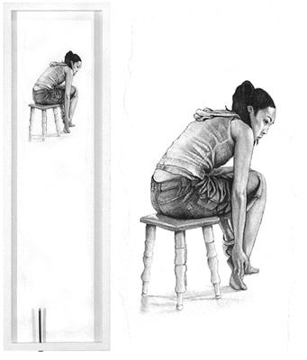 "Untitled #4, Adolescent Angst series (full view and detail) graphite pencil with acrylic matt varnish on Twinrocker paper, mounted on white painted wood framed panel with nail 23"" x 7"" x 1.5"" 2008"