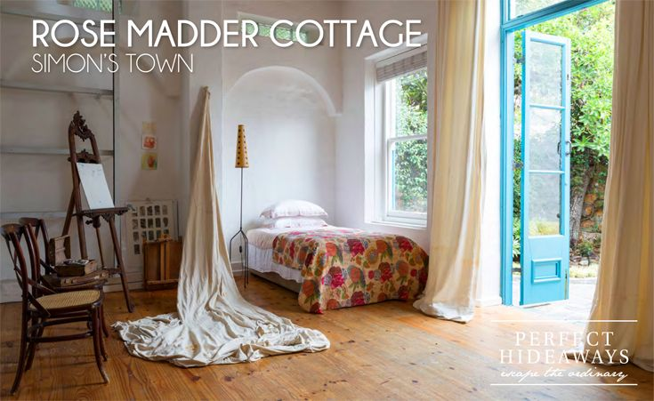 Find her down a narrow and quiet lane in picturesque Simon's Town. The 160-year-old cottage has been lovingly restored; the high ceilings and white walls make the place feel spacious and open and the beautiful sash windows allow in generous light.