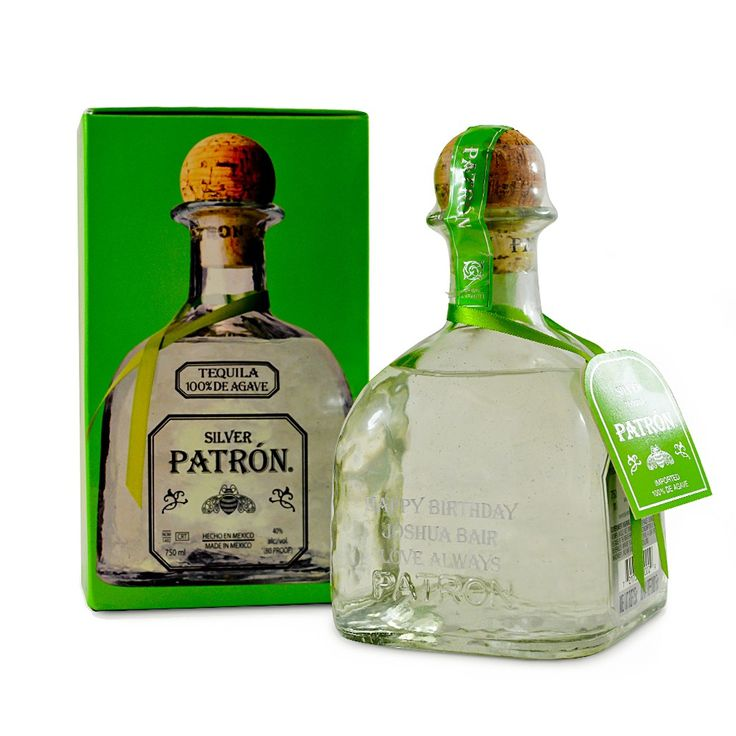 Engraved bottle of Patron Silver Tequila