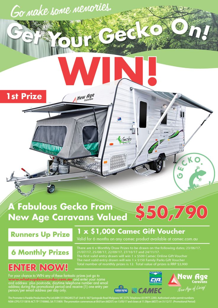Go Make Some Memories and What's Up Downunder have teamed up with our mates at New Age Caravans to bring you this years major competition - it's time to 'Get your Gecko On!' Competition!