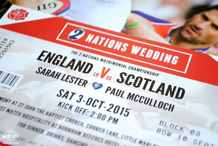 England vs Scotland Rugby Ticket Wedding Invites - http://www.wedfest.co/england-vs-scotland-rugby-ticket-wedding-invites/