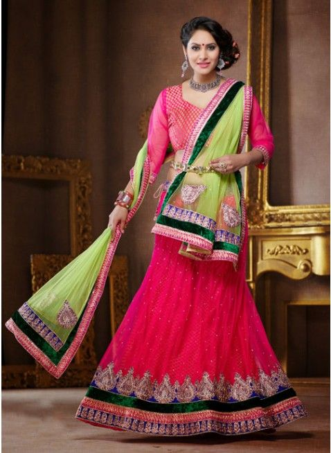 Magnificient Fuchsia color Net Based #Lehenga Choli