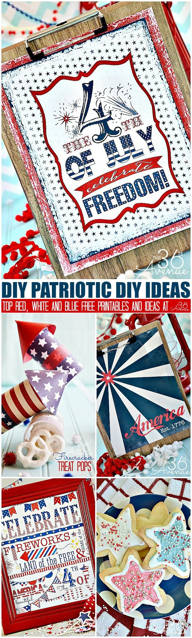 Fourth of July Top Free Printables and DIY Patriotic Ideas at the36thavenue.com Pin it now and make them later!