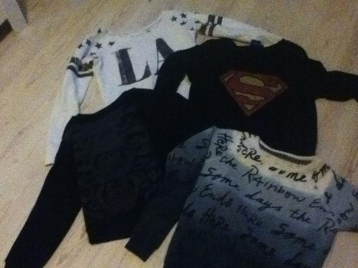 witte trui: america today superman trui: coolcat zwarte trui: america today blauwe trui: sting