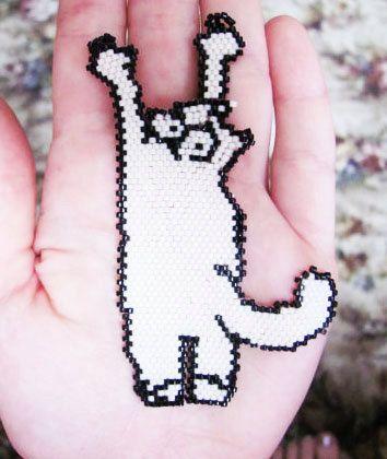 Simon's Cat Black and White Pendant /Statement Necklace / Bracelet (japanese delica beads)