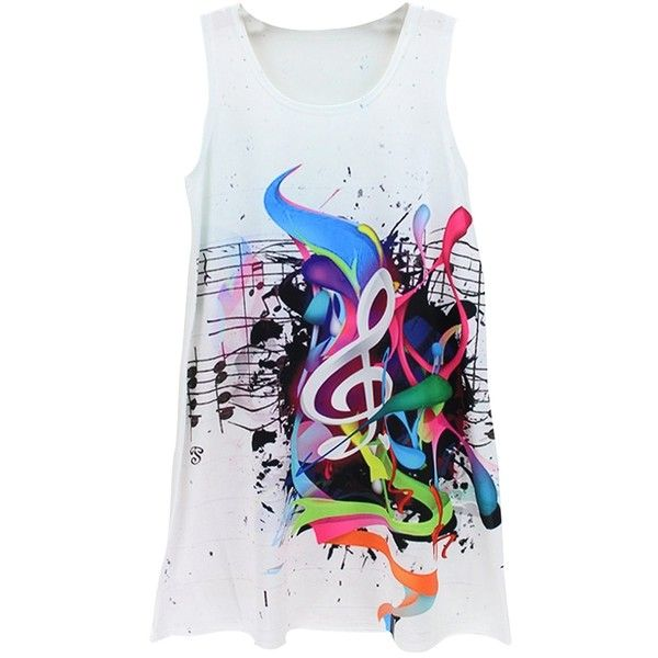 White Crew Neck Music Note Printed Chic Womens Tank Top ($12) ❤ liked on Polyvore featuring tops, shirts, white, white tank top, white singlet, white shirt, white tank and shirts & tops