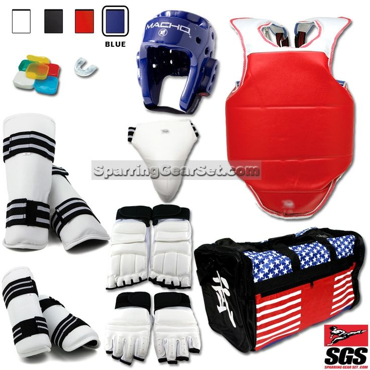Complete Taekwondo Vinyl Sparring Gear Set with Shin, Hand and Foot Guard