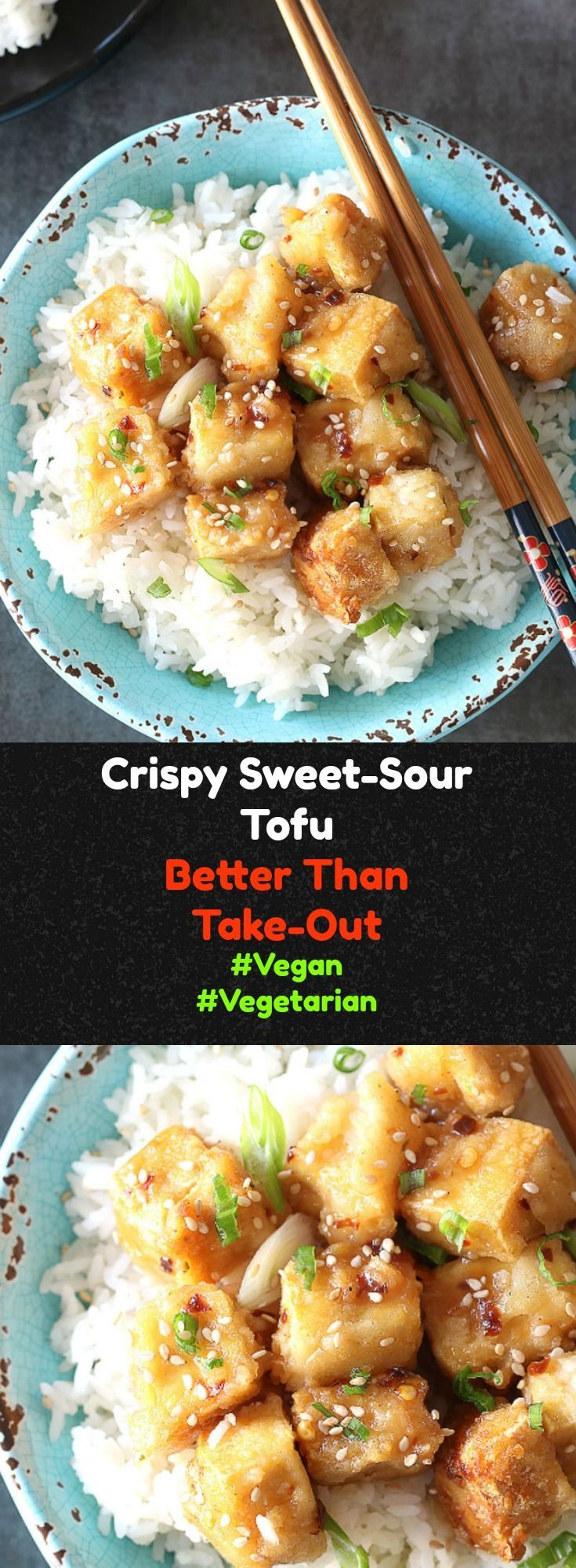 This Sweet Sour Crispy Tofu recipe is a satisfying 30-minute meal filled with sweet and sour Chinese flavors. This vegan recipe is the answer to the every day dinner challenge. A healthy weeknight dinner that everyone will love!
