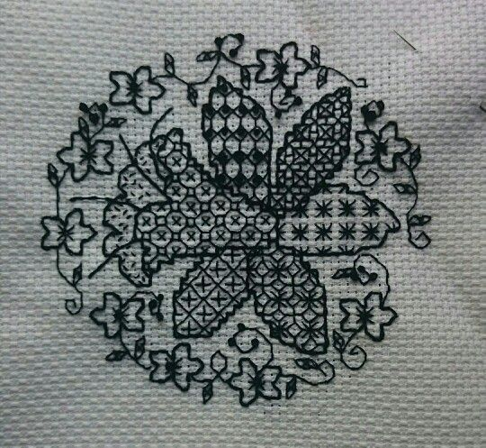 Blackwork flower for easter and spring