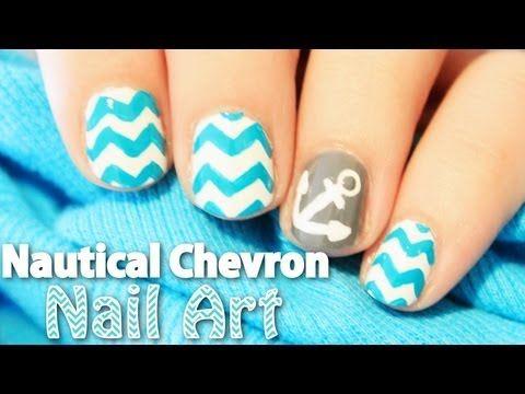 Nail Art How To: Nautical Chevron Nail Art | TotallyCoolNails | Video Tutorial | Anchors | Teal | Totally Cool Nails | Nail It! Magazine