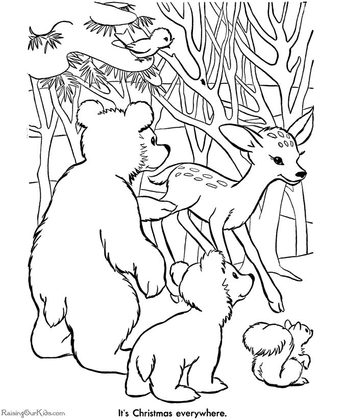 Free printable Christmas coloring pages of animals!