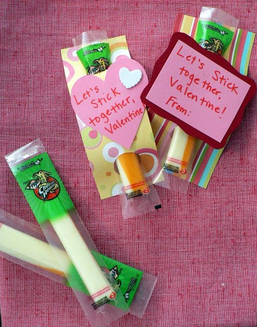 Healthy Valentine Treats for kids, cheese stick valentine: Chee Sticks, Valentines Ideas, Kids Lunches, Sticks Together, Valentine'S S, Valentines Day, String Cheese, Healthy Valentines, Valentines Treats