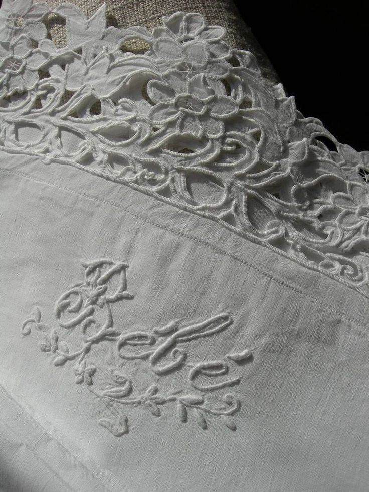 Antique French fine linen hand embroidered baby sheet + pillowcase set
