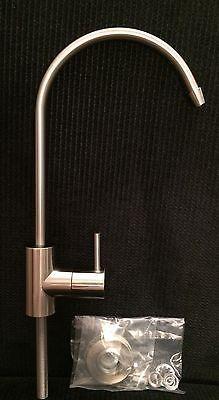 "Brushed Nickel 1/4"" Lead Free Faucet RO Reverse Osmosis Water Filter"