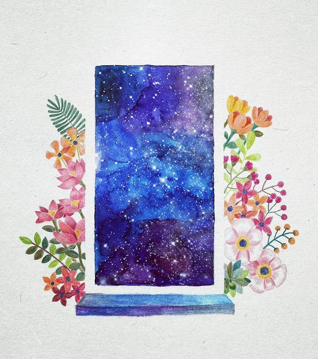 What would be beyond the door?  #illustration #drawing #painting #art #coloredpencils #watercolor #galaxy #universe #flowers #일러스트 #일러스트레이션 #꽃 #수채화 #색연필 #그림 #드로잉