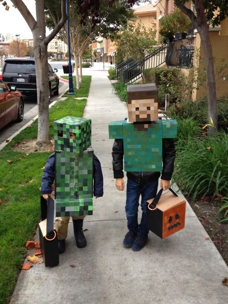 Handmade Minecraft costumes for Halloween this year.