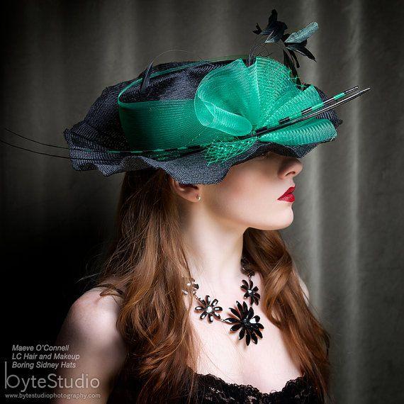 Hat Kentucky Derby Hat Straw Hat Black Hat by BoringSidney on Etsy, $225.00