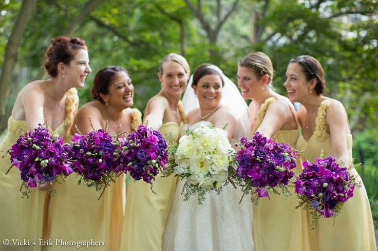 Purple yellow wedding dresses