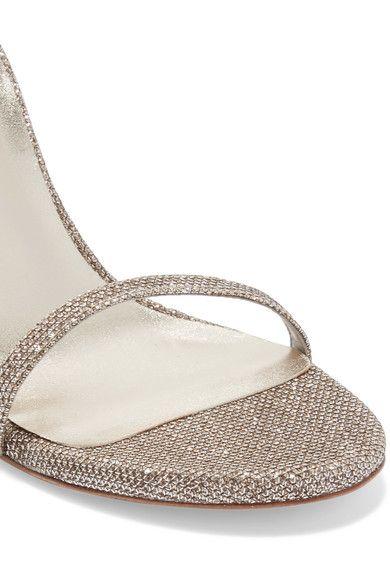 Stuart Weitzman - Nudistsong Metallic Mesh Sandals - Platinum - IT38.5