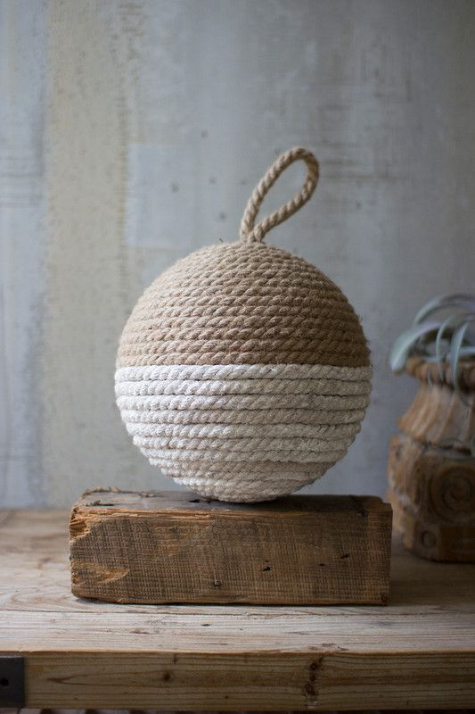 Jute rope sphere - natural and white | Beach house living