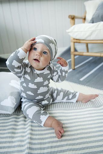 Grey cloud print baby beanie