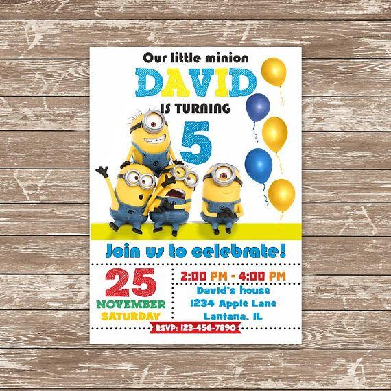 Minion Birthday Invitation Minion Party Invites Despicable