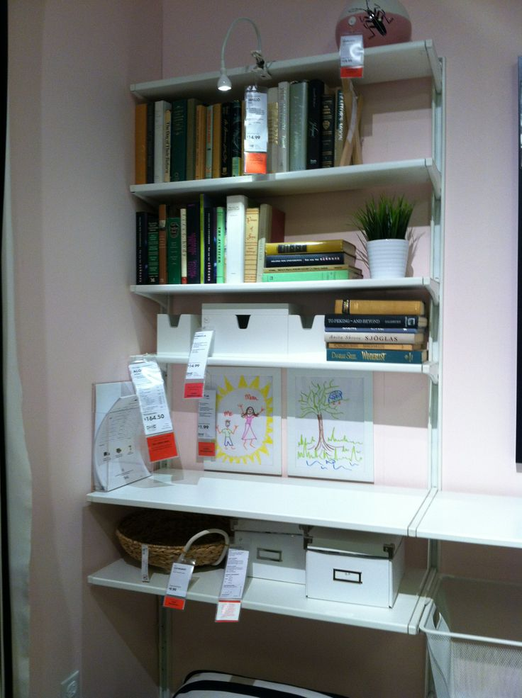 Ikea wall shelves algot home office organization for Bureau en pin ikea