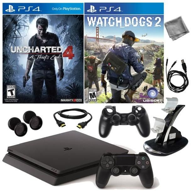 """Sony PlayStation 4 PS4 Slim 500GB Console with """"Uncharted 4,"""" """"Watch Dogs 2"""" and Accessory Kit"""