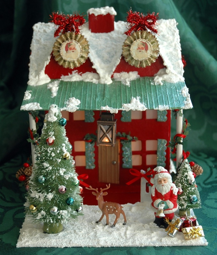 25 best paper mache homes images on pinterest christmas for Paper mache christmas