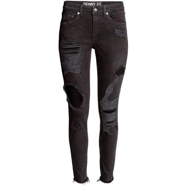 H&M Skinny Ankle Trashed Jeans 19,99 (26.655 CLP) ❤ liked on Polyvore featuring jeans, pants, bottoms, pantalones, denim skinny jeans, denim jeans, h&m skinny jeans, skinny ankle jeans and 5 pocket jeans