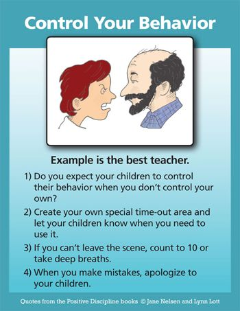 Positive Discipline: Control Your Behavior- I take mommy time outs whenever I need them and my kids know that I need it to regroup and try again. Also, I always have modeled genuine apology when I make mistakes and leave my rational brain- it happens to us all!