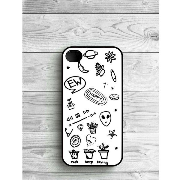 Phone Case Black and White Tumblr For iPhone 4/4S, iPhone 5/5S, iPhone... ($8) ❤ liked on Polyvore featuring accessories, tech accessories, iphone and phone case