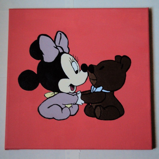 Baby Minnie Mouse acrylic canvas painting 12 by stardustcreationz, $20.00