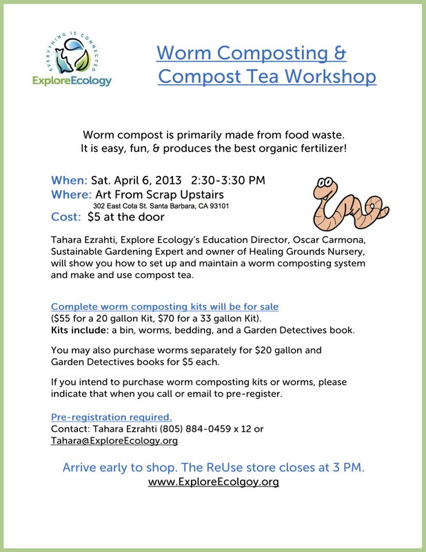 Santa Barbara, CA Worm compost is primarily made from food waste. It is easy, fun, & produces the best organic fertilizer!    Tahara Ezrahti, Explore Ecology's Education Director, Oscar Carmona, Sustainabl… Click flyer for more >>