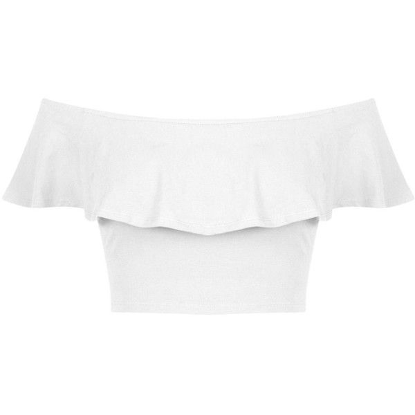 Miss Selfridge Petites White Frill Bardot Top (409.160 VND) ❤ liked on Polyvore featuring tops, shirts, crop top, white, petite, petite white tops, ruffle top, shirt crop top and white shirt